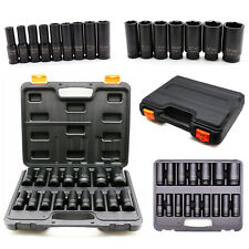 "16 Piece Impact Socket Set 1/2"" Drive 6 Point Metric Reach Sockets Repair Tools"