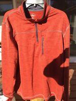 GH BASS & CO 1/4 ZIP Rust Long Sleeve Pullover Mens SHIRT SZ XL Mint