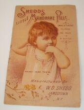 Vtg Antique Medicine One Fold Trade Card Shedd's Little Mandrake Pills NY
