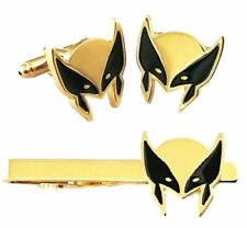 Marvel's Wolverine Mask Metal Enamel Cuff Links and Tie Clip Set