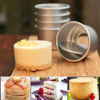 "5pcs 2"" Aluminum Alloy Round Mini Cake Pan Removable Mold DIY Baking Tools"