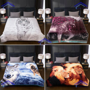 Luxury 3D Animal Print Faux Fur Soft Bed Sofa Throw Blanket Double & King Size