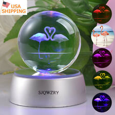Flamingo Ornament 3D Crystal ball LED Decor Night Light Table Desk Lamp Gift