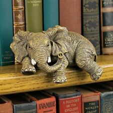 Set Of 2 Elephant Shelf Sitters Sculptures Statues Figurines Mantel Table Decor