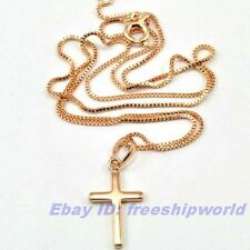 "REAL PRETTY 18K ROSE GOLD GP 0.95"" CROSS PENDANT 18"" BOX NECKLACE SOLID FILL GEP"