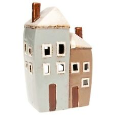 Ceramic Two Tall House Village Pottery Country Cottage Ornament Tea Light Holder