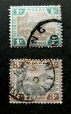 Malaya/Fed States-1900-1c & 3c Tigers-Used