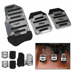 3 in 1 Universal Aluminum Non-slip Pedals Pad Cover Set for Manual Car Vehicle