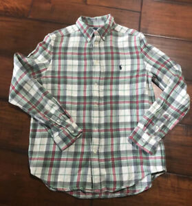 EUC Ralph Lauren Boys Cream Red Green Plaid Button Down Fleece Shirt Size XL