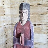 "Antique Carved Wood Santo 22"" Statue Primitive Saint Figure Catholic Folk Art"