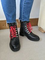 Poelman BNWT Black Leather faux fur lined Hiking Boots. Size 7/40