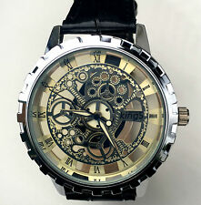 AU New Silver Skeleton Waterproof Steel Man Woman Genuine Leather Wrist Watch