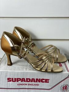 Supadance Gold/Nude Latin, Salsa Swing Ballroom Dance Shoes UK 6 Wide 1413W