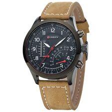 New CURREN Fashion Mens Leather Analog Army Military Quartz Sport Wrist Watch