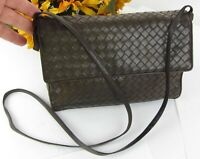 Vtg BOTTEGA VENETA Brown Intrecciato Woven Nappa Leather Shoulder Crossbody Bag