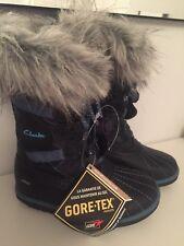 CLARKS GIRLS FAB JUMP GTX BLUE BOOTS SIZE 7 G GORE-TEX SNOW