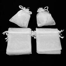 LOT 10 POCHETTES SACS ORGANZA BLANC 7 X 9 CM CADEAUX MARIAGE BAPTEME  BIJOUX