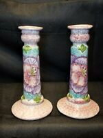 """Beautiful Pair of Handmade Porcelain 7""""  Candle Sticks Made in Portugal Markings"""