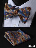 Paisley Floral Men Woven Silk Self Bow Tie Pocket Square Set #B4