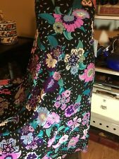 LuLaRoe Floral Maxi Skirt,Sun Dress,Black,Purples & Turquoise Beautiful Rare,(L)