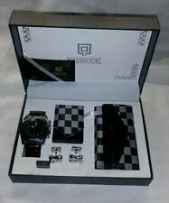☆ New Qbos Mens Watch,Key Pouch,Money Clip & Cuff Links Race Flag Checker Theme