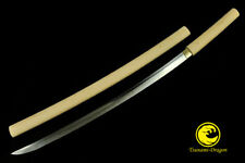 Battle Clay Tempered Japanese Samurai Choji Hamon Blade Shirasaya Katana Sword