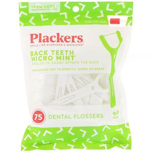 Plackers, Back Teeth Micro Mint, Dental Flossers, Mint, 75 Count Floss UK