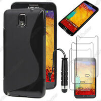 Housse Etui Coque Silicone Noir Samsung Galaxy Note 3+ Mini Stylet + 3 Films
