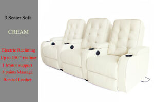 Electric Recliner Massage Chair Sofa Lounge 3 Seater Home Theater Seating Cream