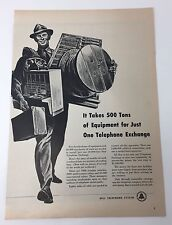 Original Print Ad 1951 BELL TELEPHONE SYSTEM Takes 500 Tons of Equipment