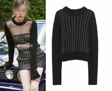 Sexy Black Clear Voile Crystal Knitted Sweater Pullover Runway Occident 84f