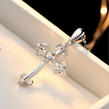 Women 925 Sterling Silver CZ Cubic Crystal Cross Pendant Necklace Diamante S2