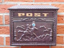 Briefkasten aus Aluguss, historisches englisches Design, mit 2 Schlüssel, braun