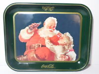 VINTAGE 1983 COCA COLA POP SODA ADVERTISING TRAY COKE SANTA CLAUS & LITTLE GIRL