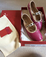 VALENTINO Pink Leather Silver Studd Ballerina Flats size 35.5