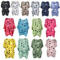 New Ladies Italian Top Polka Dot Women Spotty Tunic Lagenlook Multicolour Dress