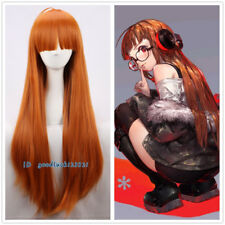 Persona5 Futaba Sakura Orange Straight 85cm long Halloween Cosplay Wig+a wig cap