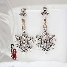 Boucles d`Oreilles Clou Art Deco Fleur Neige Cristal Mariage Vintage AA 11