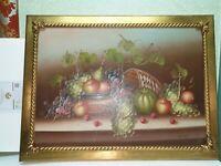 QUADRO frutta 60x80 CORNICE IN LEGNO COLORE FOGLIA ORO OLIO SU TELA CLASSICO