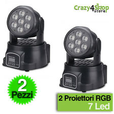 2 X PROIETTORE LED RGB TESTA MOBILE ROTANTE EFFETTI DISCO 7 LED WASH DMX!!!