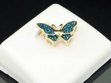 Blue Diamond Butterfly Pendant Ladies 10K Yellow Gold Round Pave Charm 0.16 Tcw.