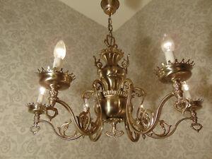 antik 6fl. Kronleuchter Lüster Deckenlampe Messing  Silber   ca.1930