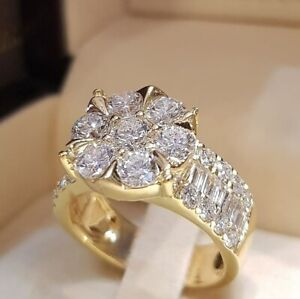 925 Silver White Sapphire Rings Engagement Wedding Women Flower Ring Jewelry