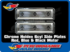 CHROME FINNED SIDE PLATES HOLDEN 6CYL 149 161 173 179 186 202 RED BLUE BLACK