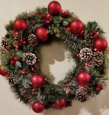 "Lighted Battery LED Christmas Holiday Wreath  24"" Decoration Red Balls Pine Cone"
