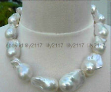 New  HUGE AAA++  SOUTH SEA WHITE BAROQUE PEARL NECKLACE 18''