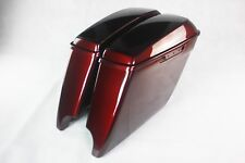 """Mysterious red sunglo 4.5"""" Extended Stretched SaddleBags fit harley 2014-2018"""