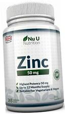 Nu U Nutrition ZINC 50mg 365 Tablets (12 Month's Supply)
