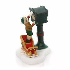 Dept 56 Alpine Village Letters Santa Boy on Sled at Mailbox Figure 4050902 New