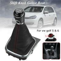 5 Levier de Vitesse Pommeau Soufflet Couverture Cadre PU cuir pour VW Golf V VI